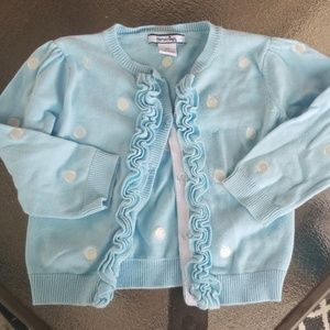 Hartstrings 2t blue and white polka dot cardigan